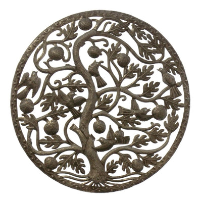 Fruit & Birds Tree of Life Ringed Haitian Metal Drum Wall Art, 24""