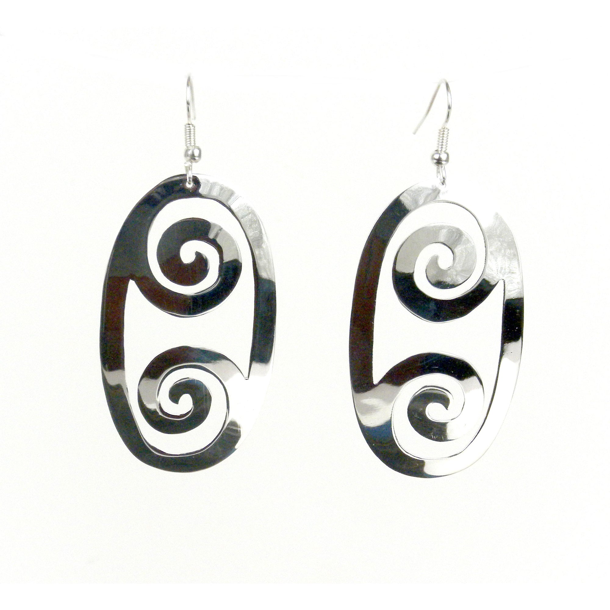 Large Silver-plated Double Scroll Earrings
