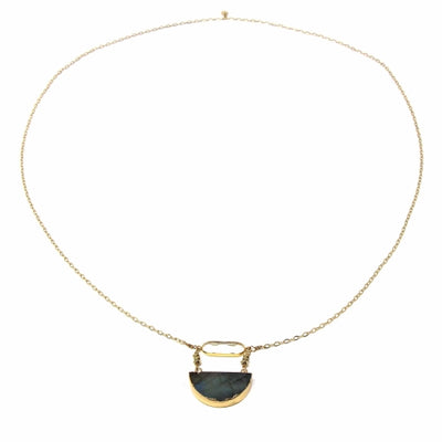 Chloe - Crystal and Labradorite Long Pendant Necklace