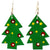 Set of 10 Painted Tin Christmas Tree Earrings