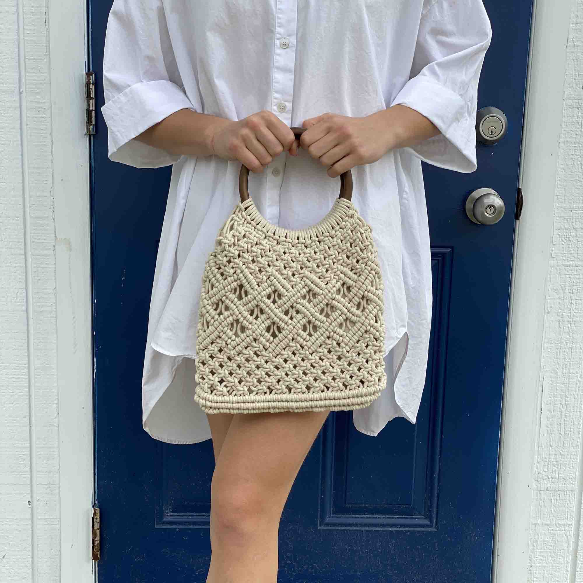Macramé Bag with Wooden Handle, Lined Interior