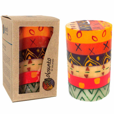 Hand-Painted Pillar Candle in Gift Box, 4-inch (Indabuko Design)