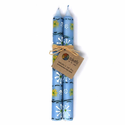 Hand Painted Taper Candles, Pair, Blue Masika Design