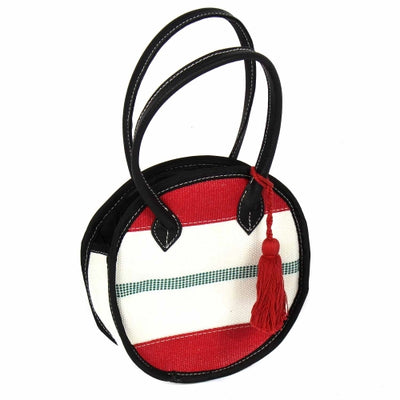 Recycled Firehose Small Round Clutch with Tassel