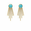 Gold and Turquoise Sunburst Stud Dangle Earrings