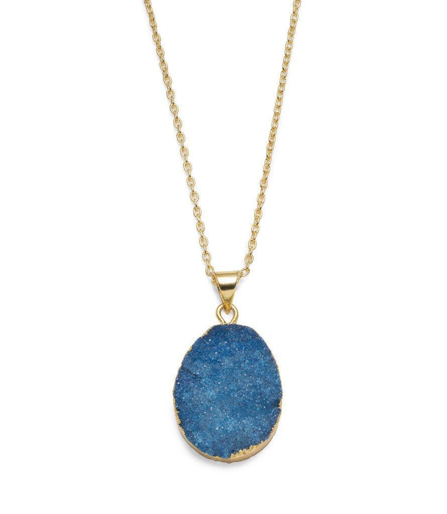 Rishima Druzy Drop Necklace - Light Blue
