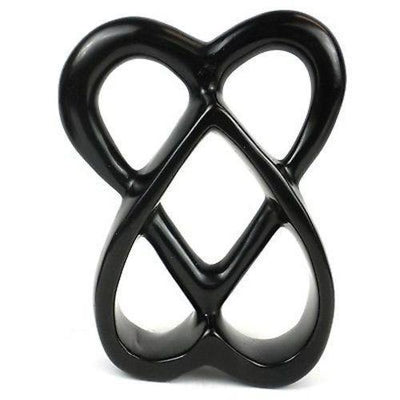 Double Heart Soapstone Sculpture, 8-inch