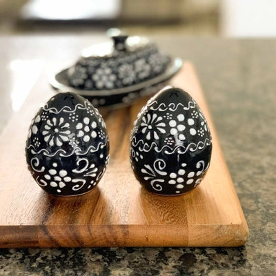 Encantada Handmade Pottery Salt & Pepper Shakers, Ink