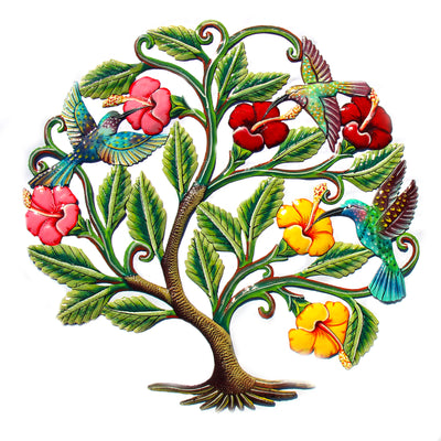 Hummingbirds and Hibiscus Flowers Painted Haitian Metal Drum Wall Art, 24""