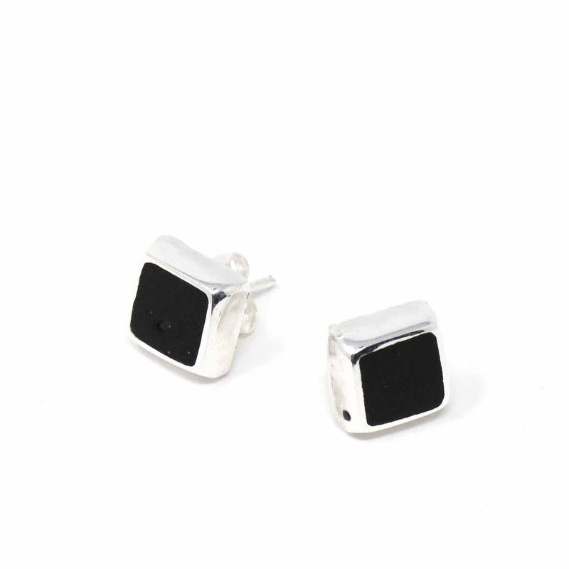 Sterling Silver Black Square Stud Earrings