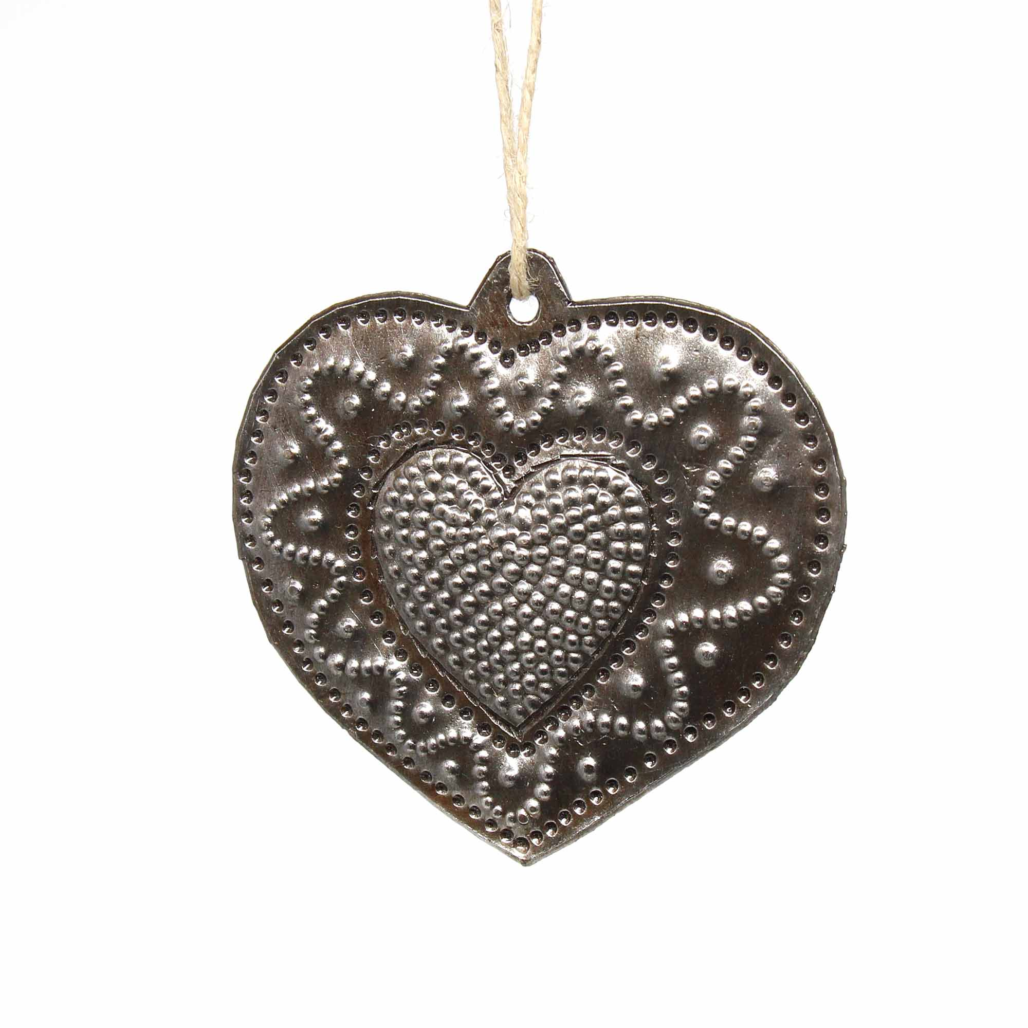 Swirly Heart Haitian Metal Drum Christmas Ornament