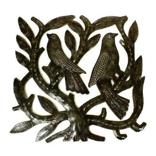 Square Tree of Life with Birds Haitian Metal Drum Wall Art, 8""