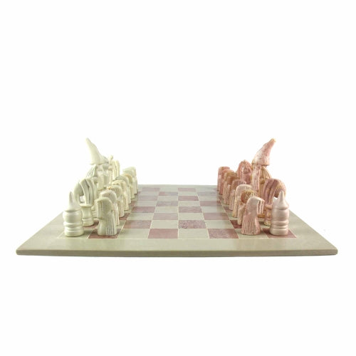 Soapstone Chess Set - Animal Pieces - 15 Inch Board