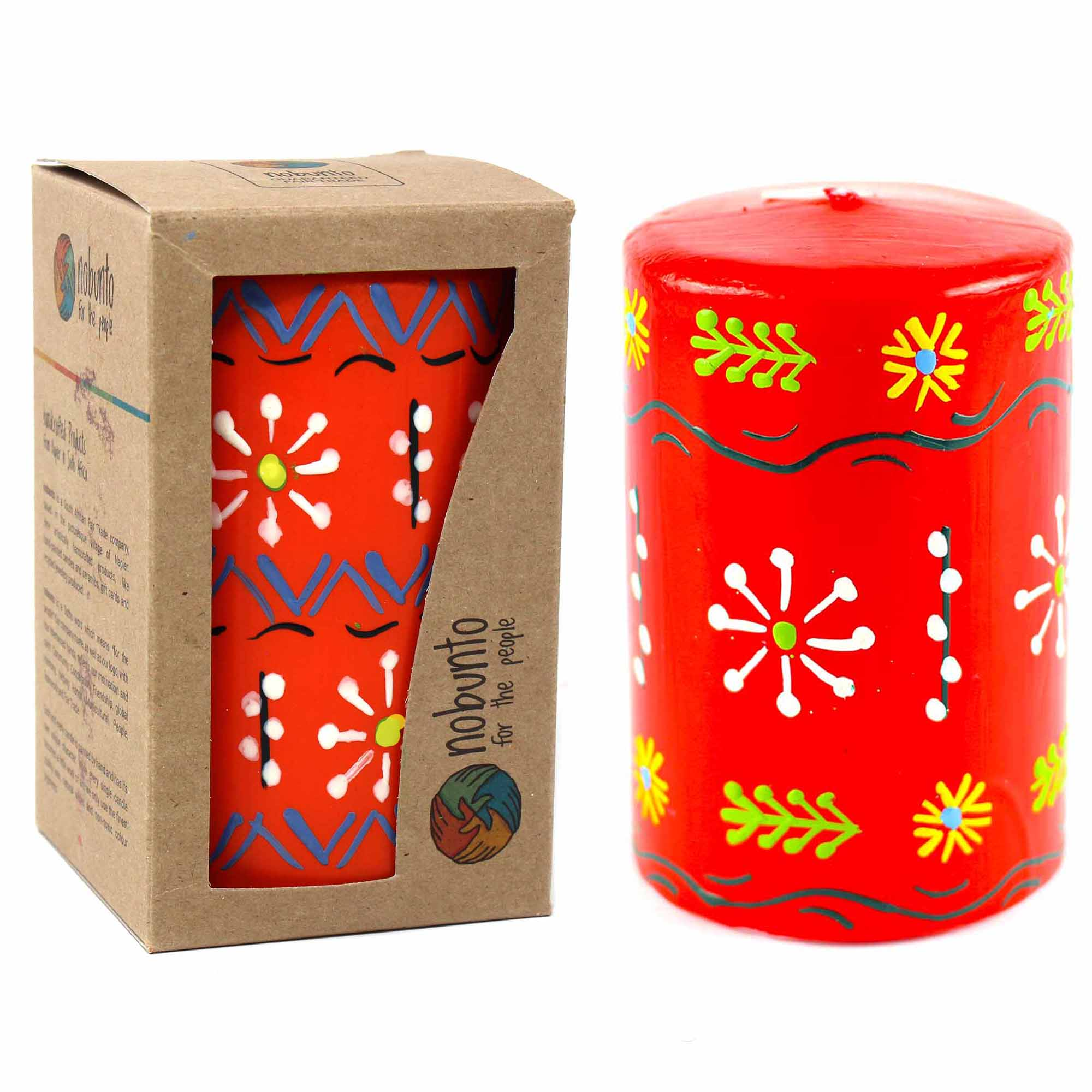 Hand-Painted Red Pillar Candle in Gift Box, 4-inch (Masika Design)