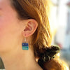 Square Glass Dangle Earrings, Shades of Blue