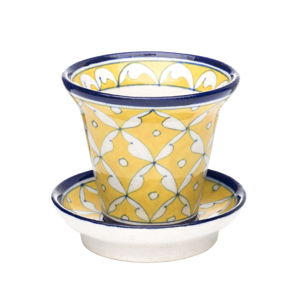 Blue Pottery Planter - Yellow