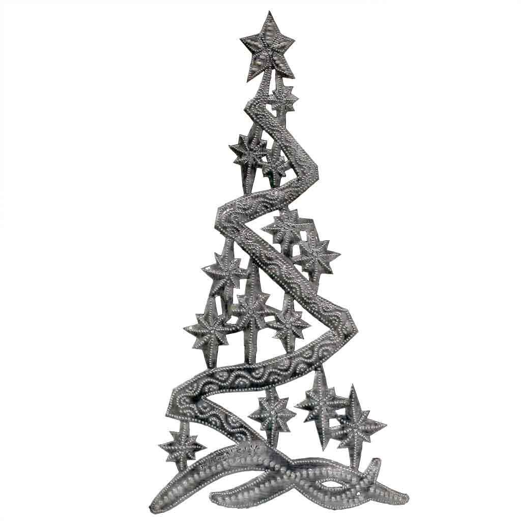 "CLEARANCE Christmas Tree Haitian Metal Drum Wall Art (14"" x 7"")"