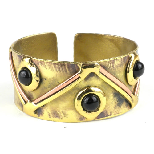 Onyx Triangle Brass Cuff