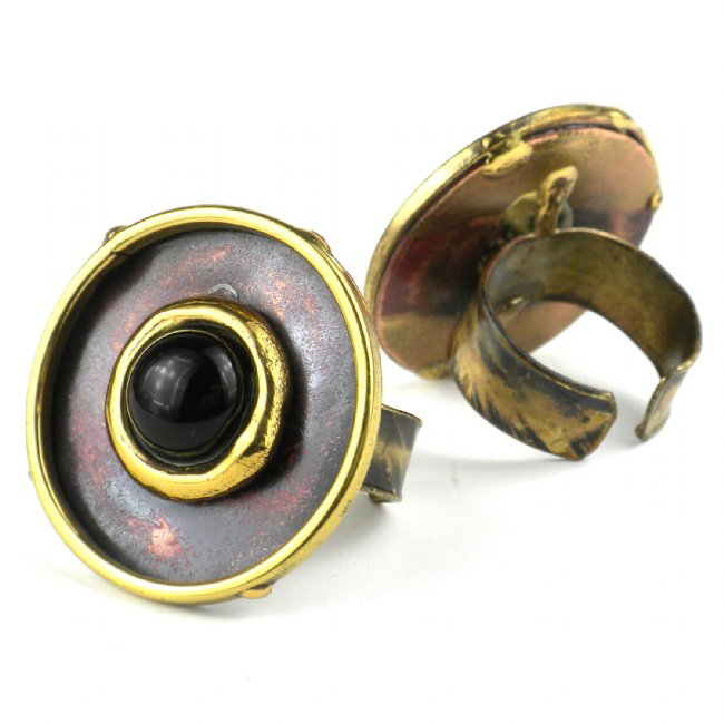 Onyx Circle of Love Brass and Copper Ring