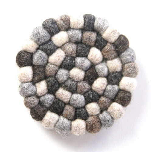 Hand Crafted Felt Ball Trivets from Nepal: Round, Greys