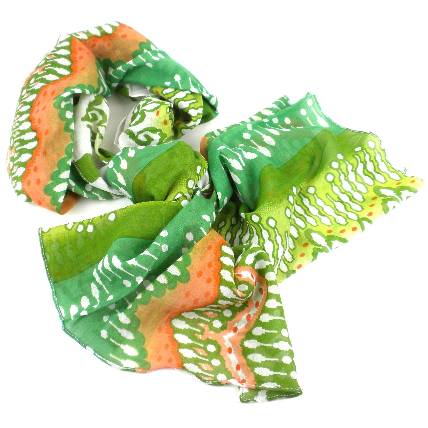 White, Peach and Green Ikat Cotton Scarf