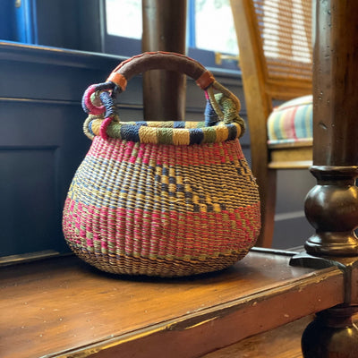 Small Bolga Pot Basket - Mixed Colors