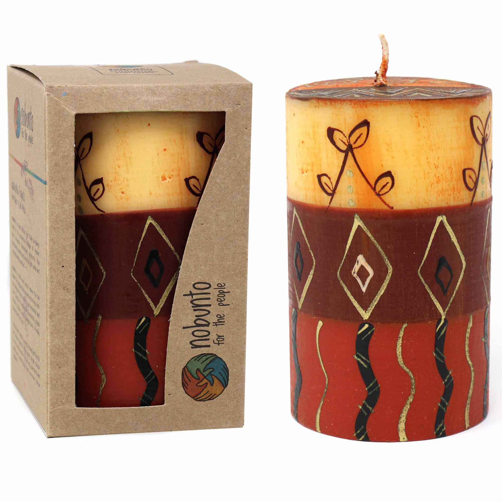 Hand-Painted Pillar Candle in Gift Box, 4-inch (Bongazi Design)
