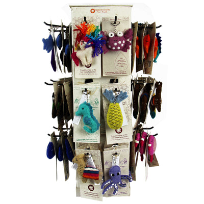 Full Set of Felt Keychains - 96 Pieces + FREE Display