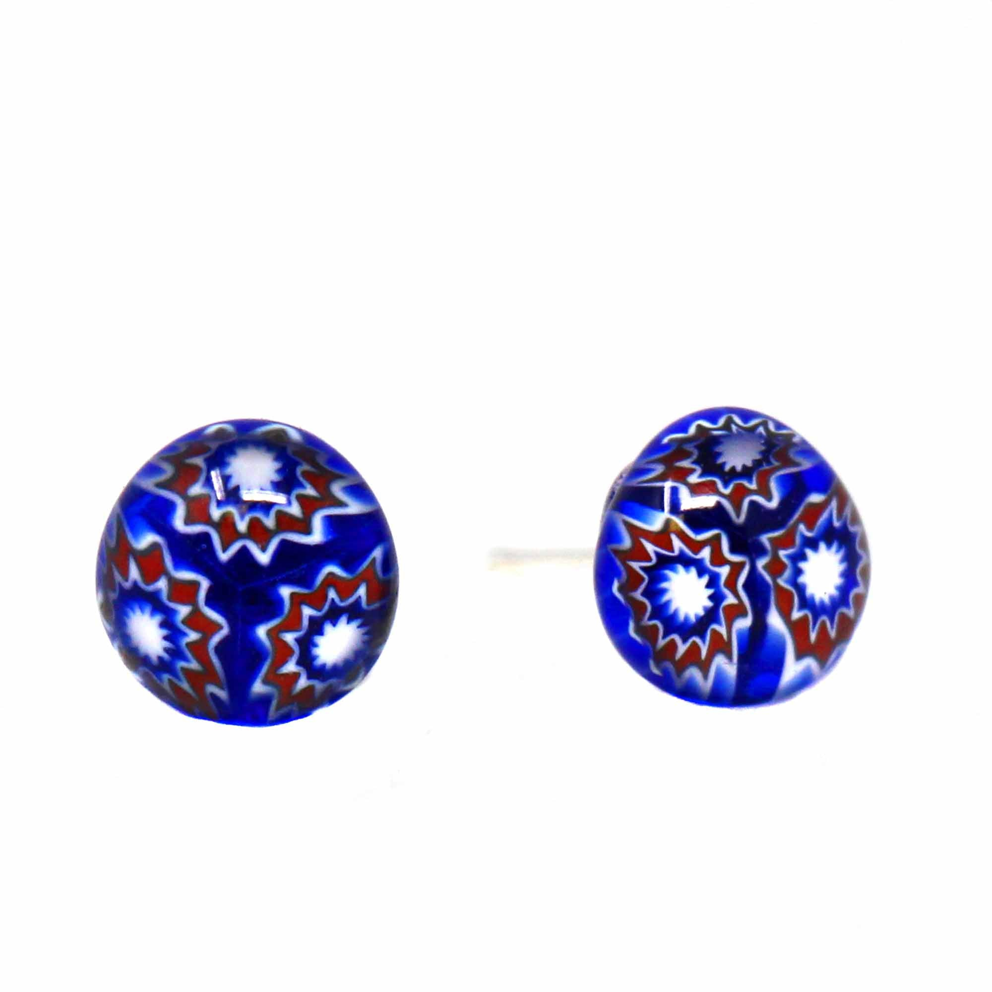 Small Glass Stud Earrings - Blue Flower