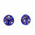 Round Glass Stud Earrings, Blue Flower