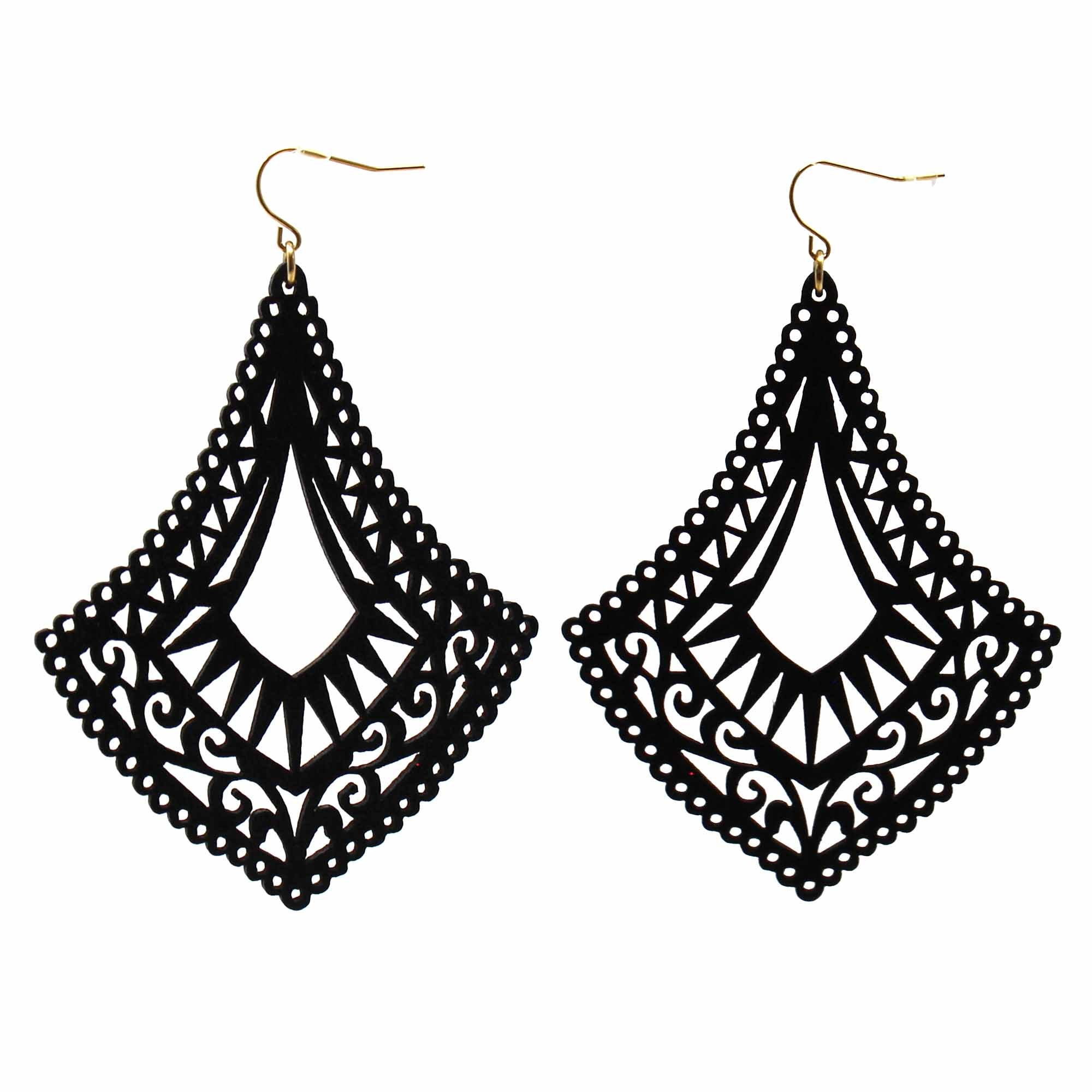 Bernadine - Intricate Large Wood Cutout Earrings