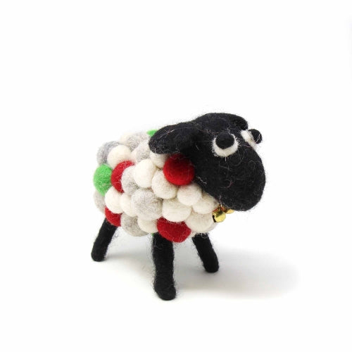 Hand Crafted Felt Ball Christmas Sheep, Small 10cm