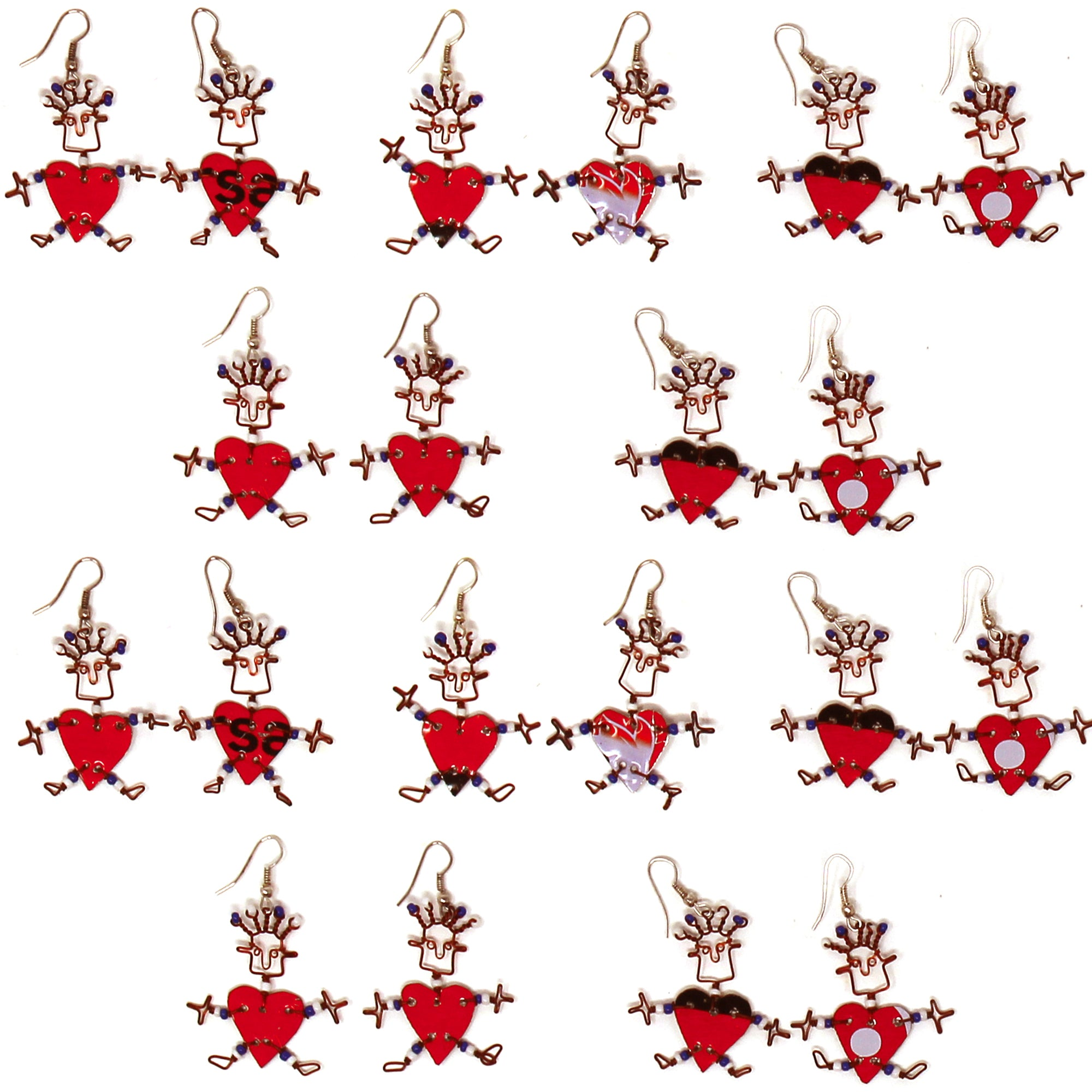 Set of 10 Dancing Girl Heart Body Earrings in Red