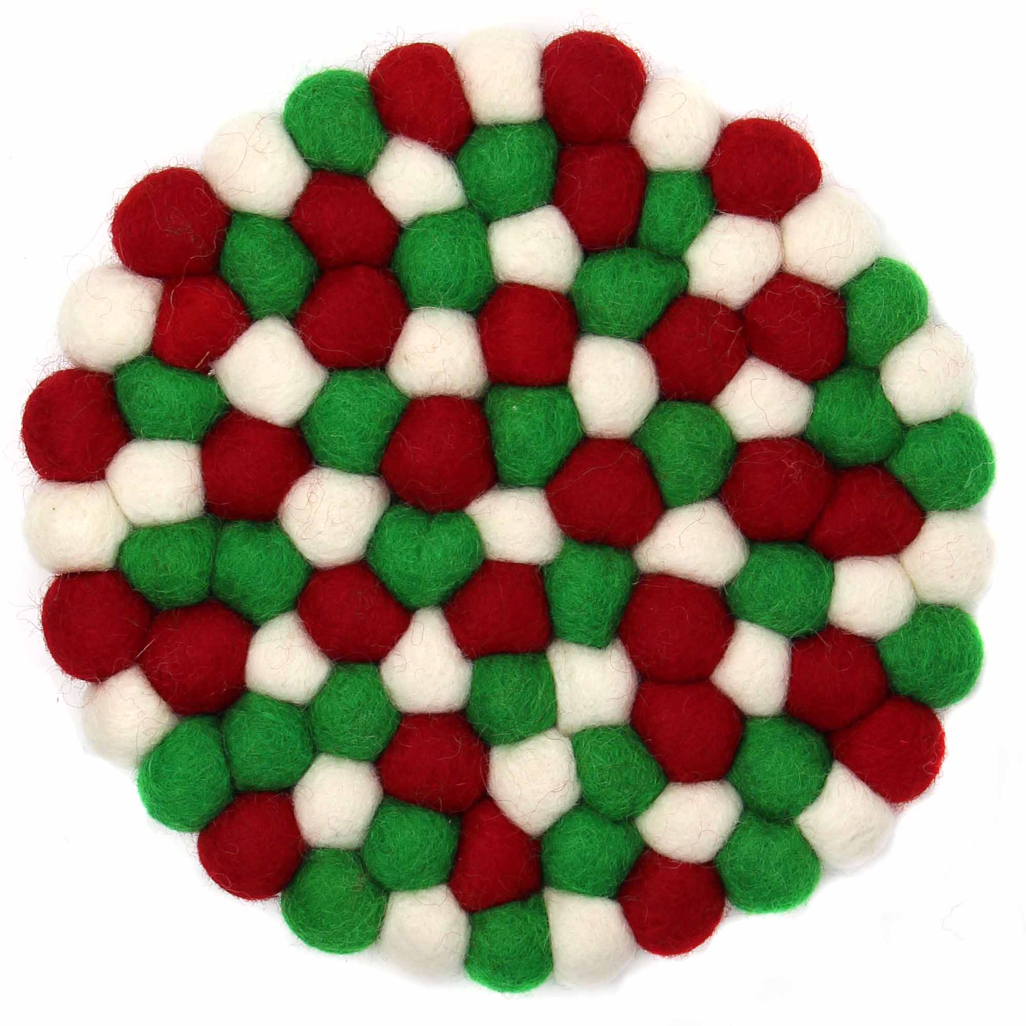 Felt Ball Trivet: Round, White Christmas