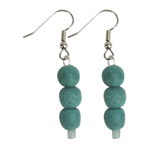 Recycled Glass Bead Earrings Teal