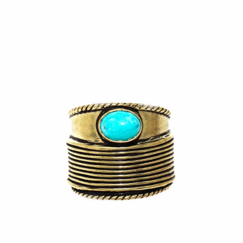 Turquoise Stone Adjustable Brass Ring - Pack of 3
