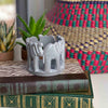 Circle of Elephants Soapstone Sculpture, 3 to 3.5-inch - Dark Stone