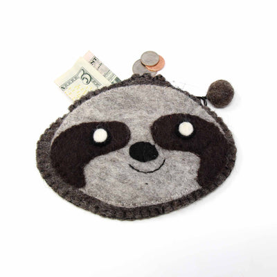 Hand Crafted Felt: Sloth Coin Pouch