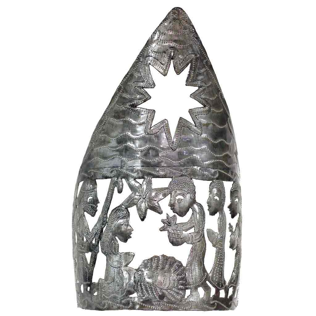 "Nativity Wisemen Candle Holder Haitian Metal Drum Tabletop Décor (13"" x 7"")"