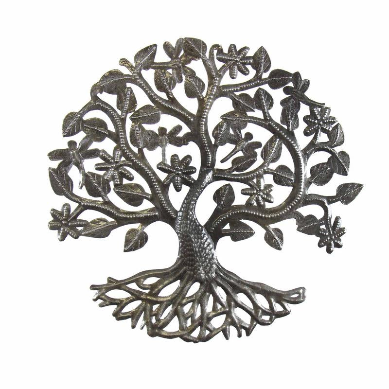 Tree of Life Dragonfly Haitian Metal Drum Wall Art, 14""