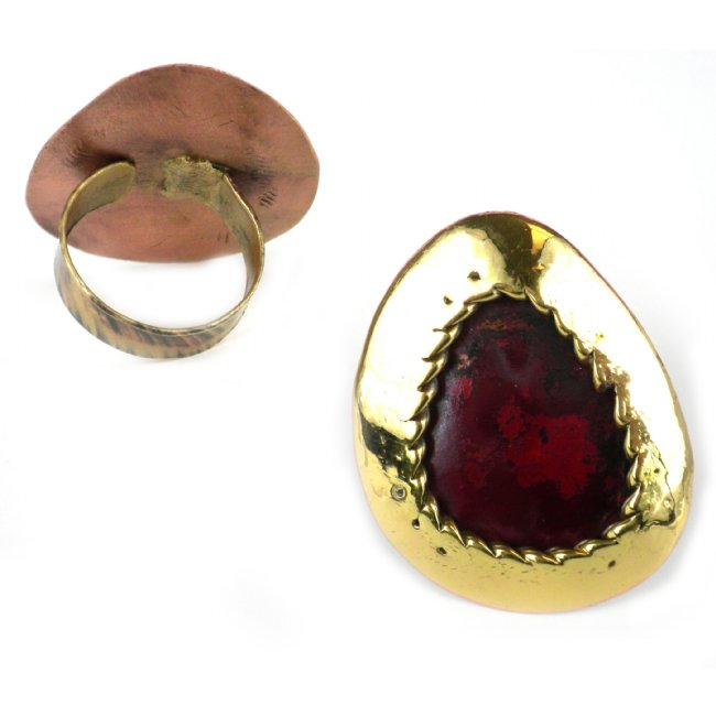 Oval Organic Brass and Copper Ring