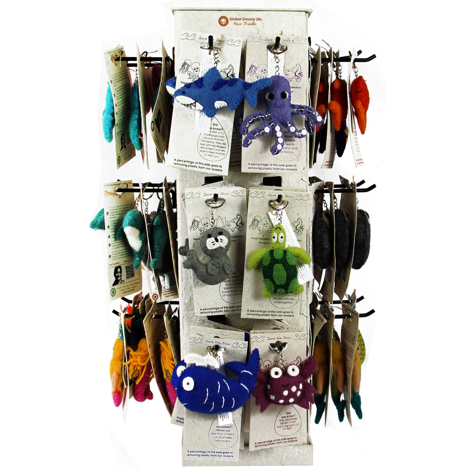 Full Set of Felt Keychains - 96 Save the Seas Pieces + FREE Display