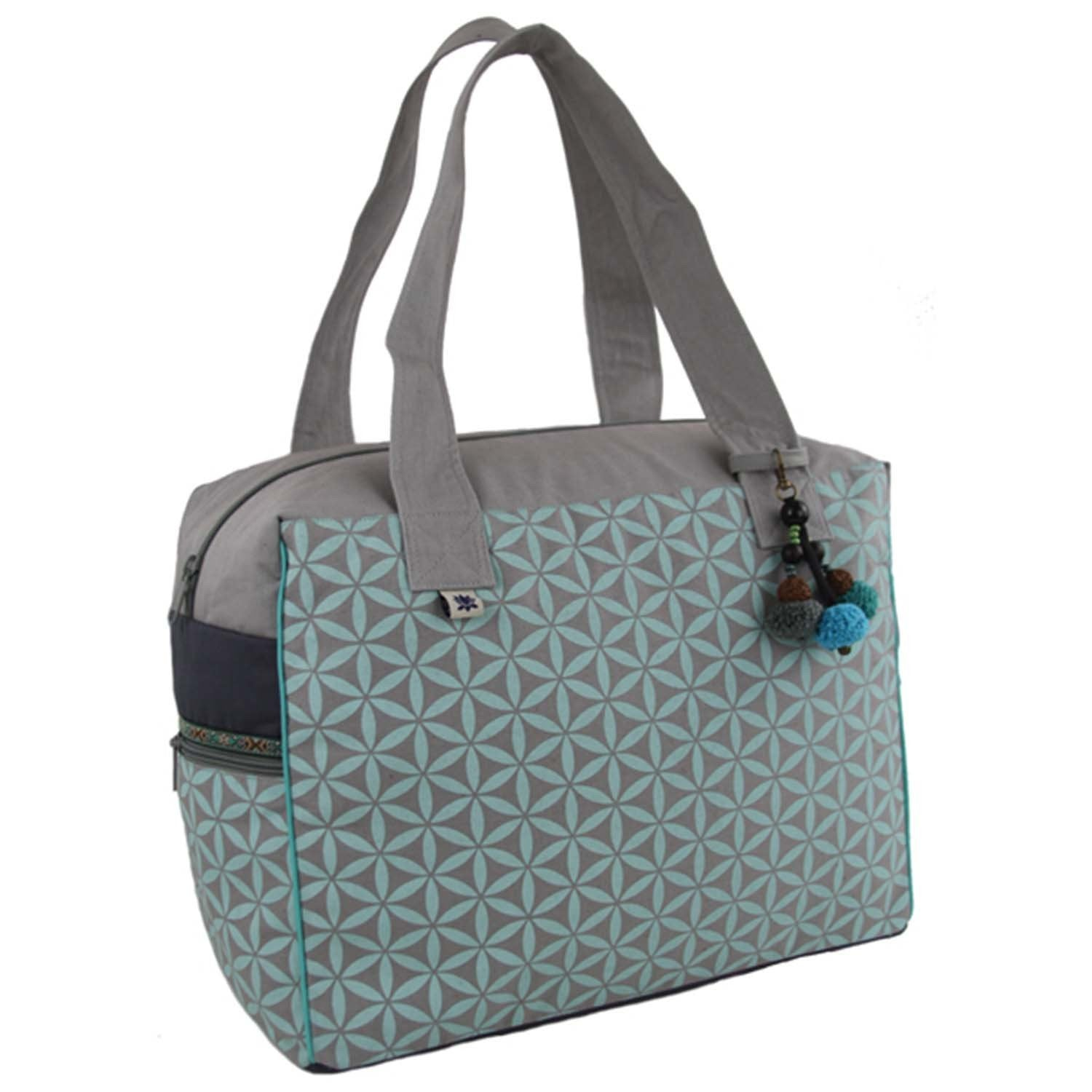 Flower of Life Collection Retreat Bag, Grey/Turquoise