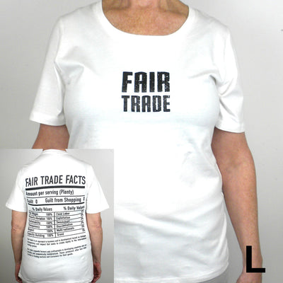 White Fitted Tee Shirt Small FT Front - FT Facts on Back - Large