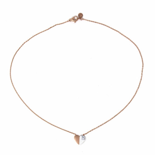 Alexis - Rose Gold and Howlite Heart Necklace