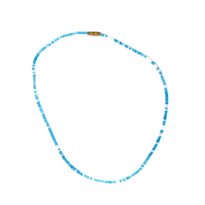 "Maasai Bead Necklace 17"", Blue with White Accent Beads"