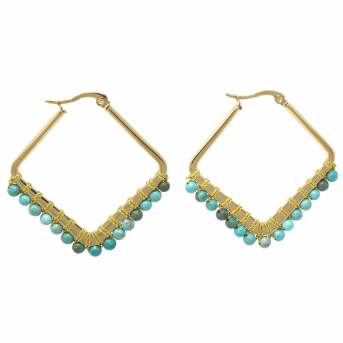 Kayla in Blue - Turquoise Howlite Diamond Hoop Earrings