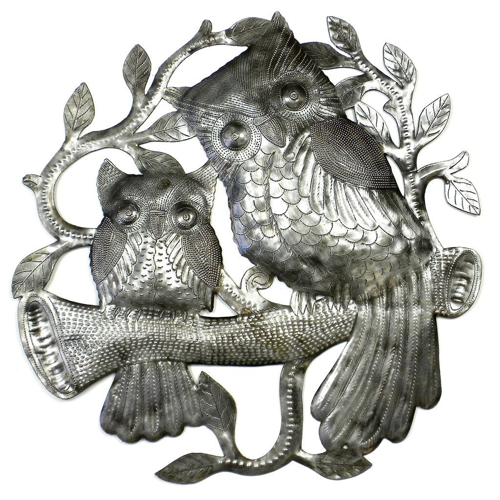 Pair of Owls on Perch Haitian Metal Drum Wall Art, 23""