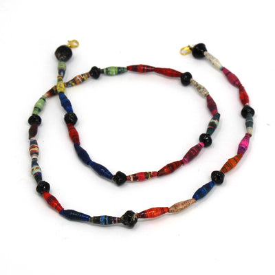 Face Mask/Eyeglass Paper Bead Chain, Black and White