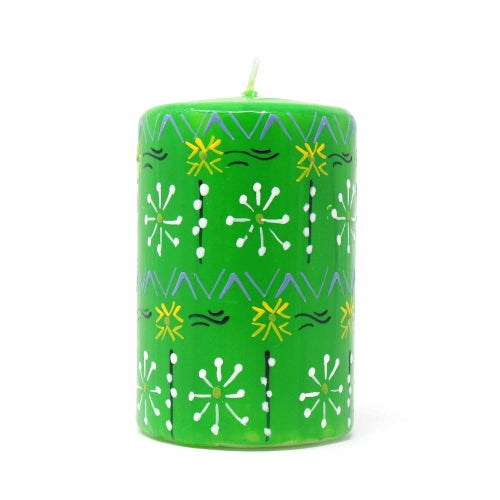Hand-Painted Green Pillar Candle in Gift Box, 4-inch (Masika Design)